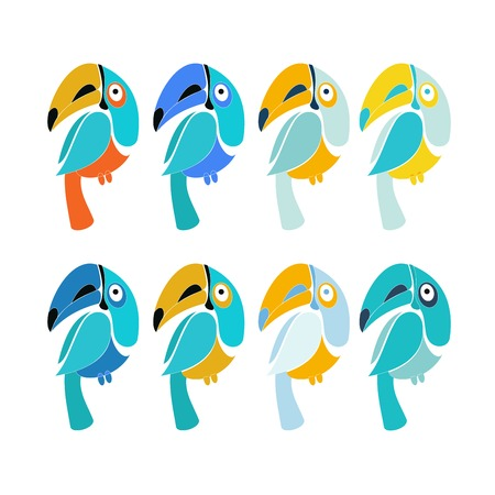 Vector set of design elements - birds signs and symbols - humming bird, pigeon, toucan, swan, flamingo, parrot, eagle, owl