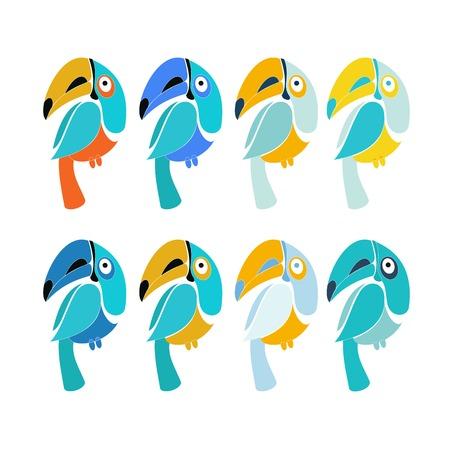 pigeon owl: Vector set of design elements - birds signs and symbols - humming bird, pigeon, toucan, swan, flamingo, parrot, eagle, owl