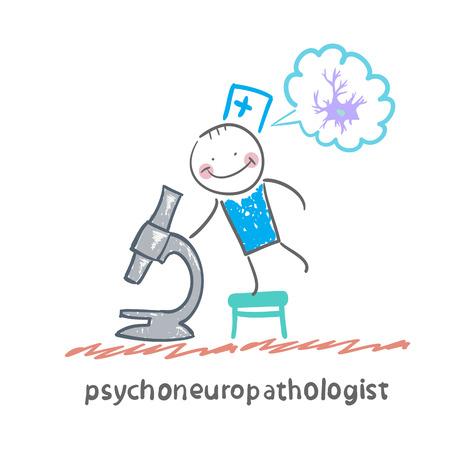 cellule nervose: psychoneuropathologist guardando attraverso un microscopio e pensa di cellule nervose Vettoriali