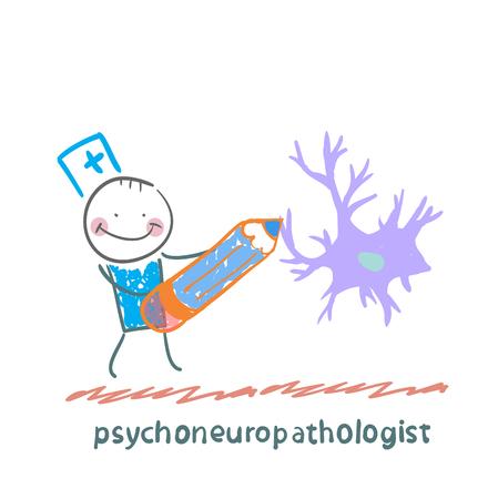 cellule nervose: psychoneuropathologist matita disegna le cellule nervose