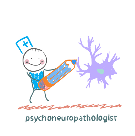 nerve cells: psychoneuropathologist  pencil draws the nerve cells