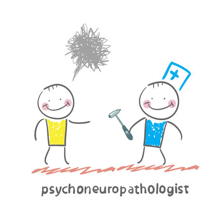 distraught: psychoneuropathologist  stands next to a distraught patient