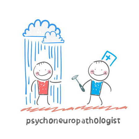 psychoneuropathologist  stands next to a nervous patient on whom pouring rain