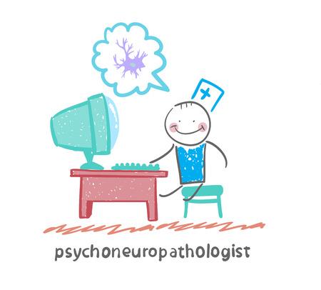 cellule nervose: psychoneuropathologist siede sul posto di lavoro al computer e pensando di cellule nervose Vettoriali