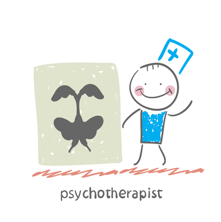 neurosis: psychotherapist  shows a picture test Illustration