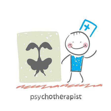 psychoanalysis: psychotherapist  shows a picture test Illustration