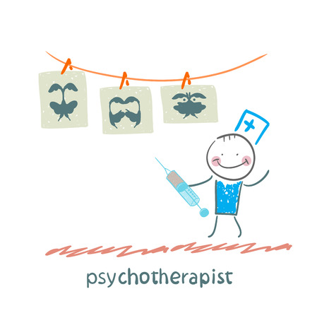 neurologist: psychotherapist  shows a picture test and standing with syringe Illustration