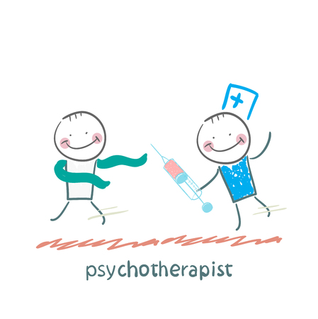 psychoanalysis: psychotherapist  with a syringe catching up with the crazy