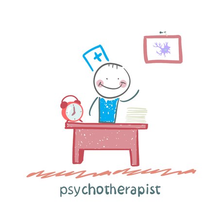 neurologist: psychotherapist  working in his office Illustration