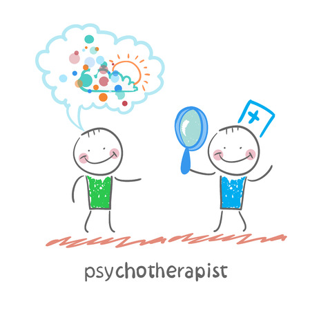 neurologist: psychotherapist  looking through a magnifying glass on a patient who dreams Illustration