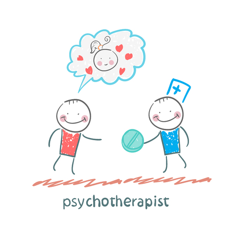 mental work: psychotherapist  gives the patient a pill
