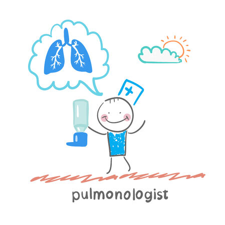 pulmonology: pulmonologist pulmonologist with asthma spray says lung