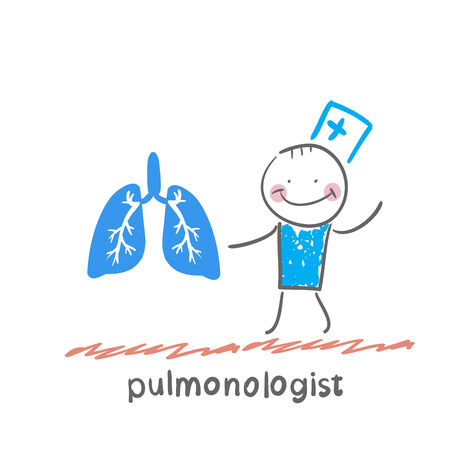 internist: pulmonologist is standing next to a persons lungs Illustration