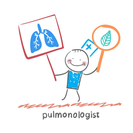 pulmonologist holding posters with the image of the lungs Vector