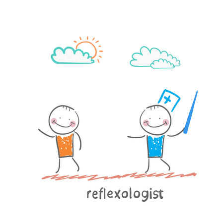 mental work: reflexologist with a needle catches patient