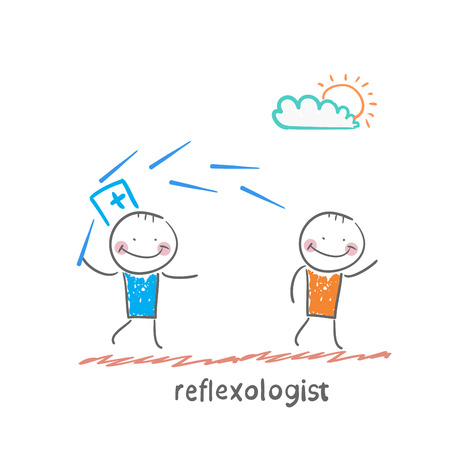 reflex: reflexologist works with a patient with needles