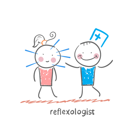 reflexologist: reflexologist works with a patient with needles