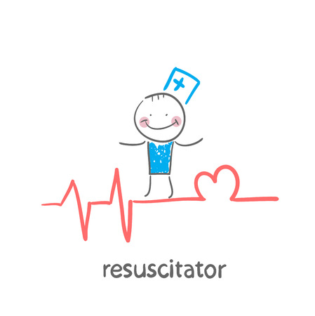resuscitation is on the line showing the beating of the heart Vector
