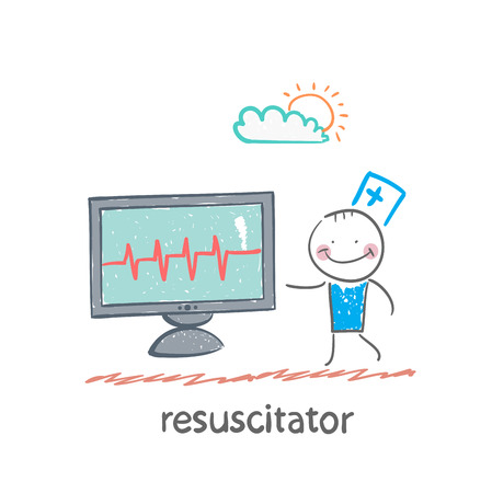 resuscitation is a monitor shows the heartbeat Illustration
