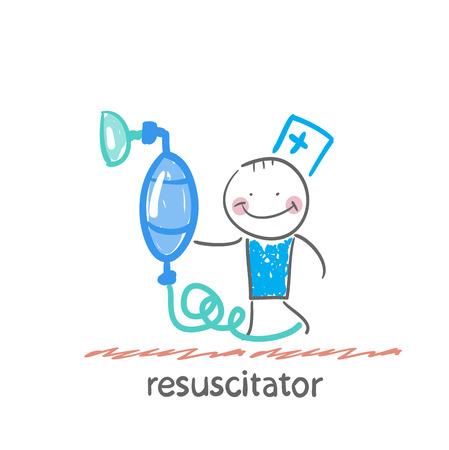 oxygen mask: resuscitation with oxygen mask Illustration