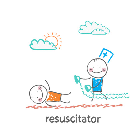 emergency cart: resuscitation in a hurry to sick patient Illustration