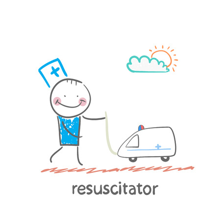 chest compression: resuscitator played with toy ambulance Illustration