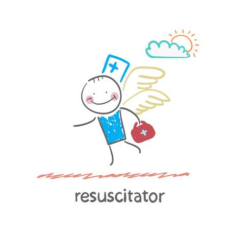 chest compression: resuscitator flies to the patient Illustration