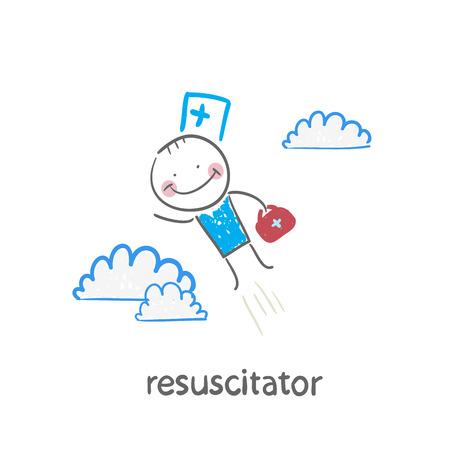 cpr: resuscitator flies to the patient Illustration