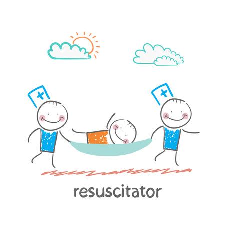 stretcher: resuscitator carry on a stretcher patient