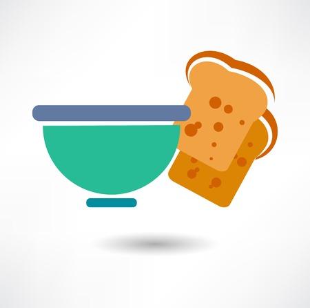 reis gekocht: Sch�ssel Reis. Detaillierte Vektor-Symbol. Reihe von Speisen und Getr�nken und Zutaten zum Kochen.