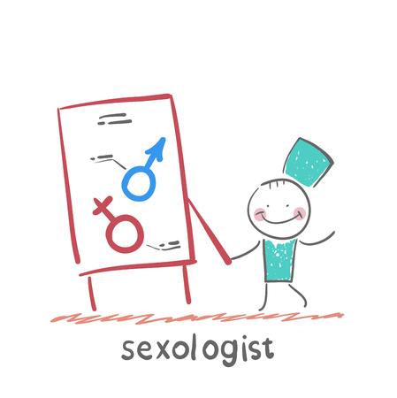 Seksuoloog die tekenen, mannelijk en vrouwelijk