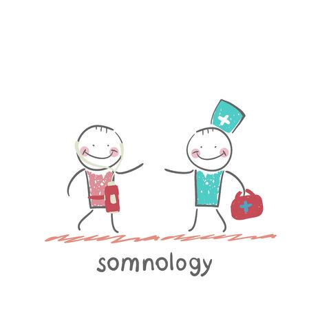 apnea: somnology treats a patient Illustration