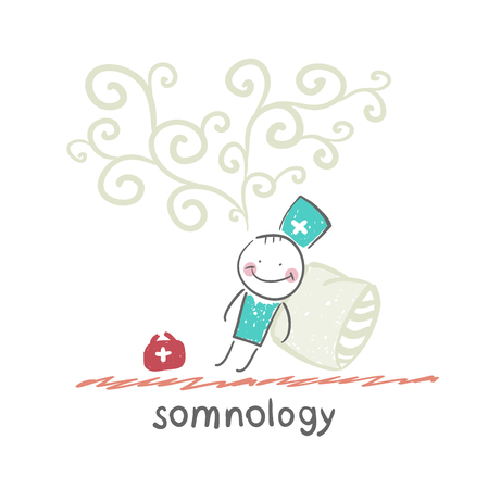 apnea: somnology fell asleep and he dreams Illustration