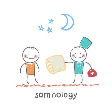 apnea: somnology gives the patient a sleep pillow Illustration
