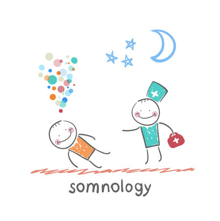 somnology come to a patient who is sleeping 向量圖像