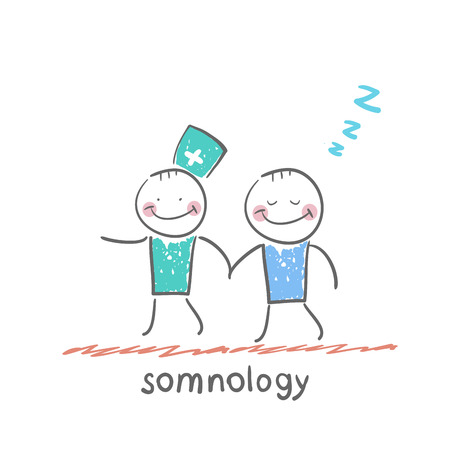 somnology  with a patient who has fallen asleep Vector