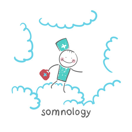 somnology flying in the sky in the clouds Illusztráció