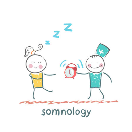 somnology treats a patient with   clock Vector