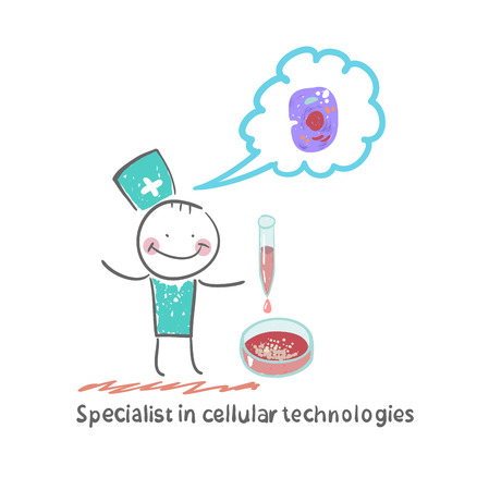 vitro: Specialist in cellular technology makes watching experiments in vitro and thinks of cells