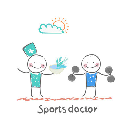 doctor who: Sports doctor gives a healthy meal to the person who holds the dumbbells