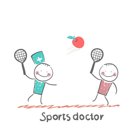 Sports doctor plays with a man in badminton apple Vector
