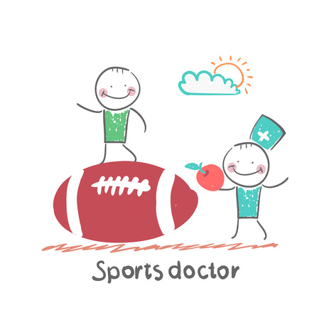 doctor who: Sports doctor giving an apple to the person who sits on a huge soccer ball