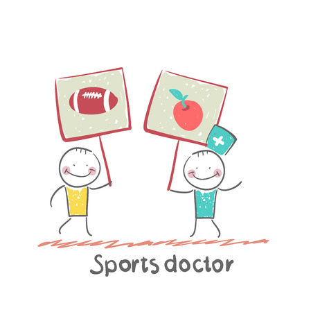 expressing: Sports doctor holds a banner with a painted apple and next man holds a poster with a soccer Ball Illustration