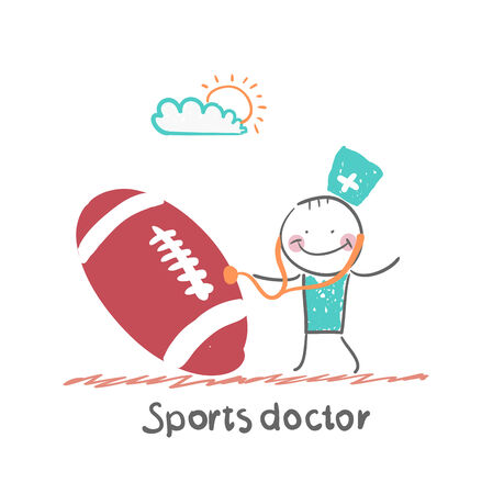 Sports doctor listens to a stethoscope football