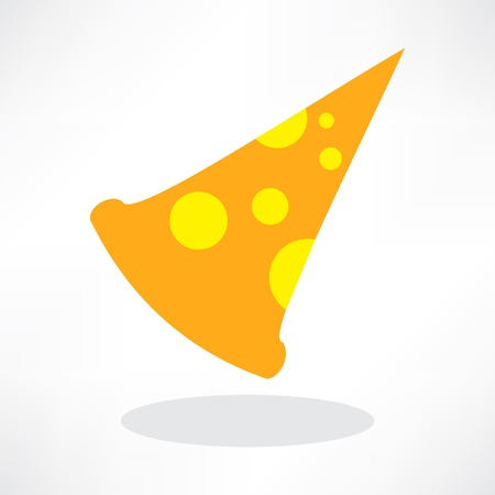 Fast Food Vector Icon. Slice of Pepperoni Pizza Vector