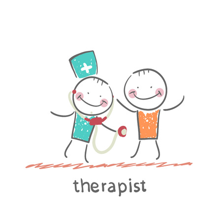 therapist: therapist listens to a stethoscope patient