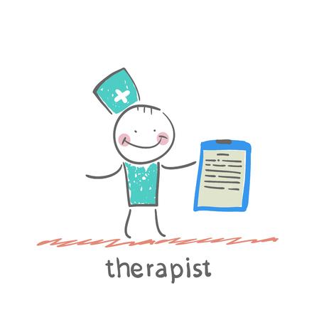 therapist holding folder in hand Ilustrace