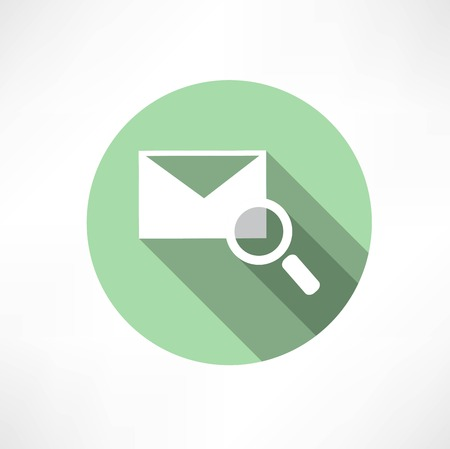 attachments: envelope with magnifying glass icon Illustration