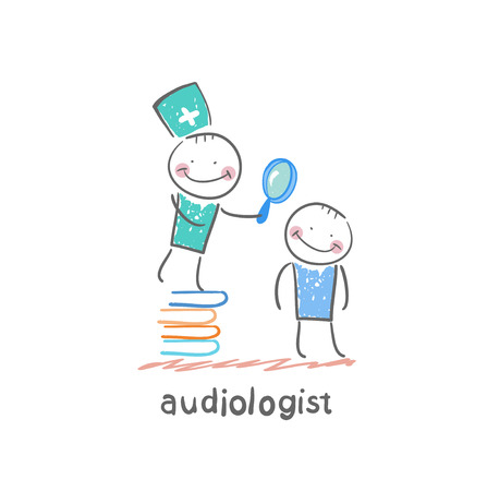 otolaryngologist stands on a pile of books and looking through a magnifying glass on the patients ear Illustration