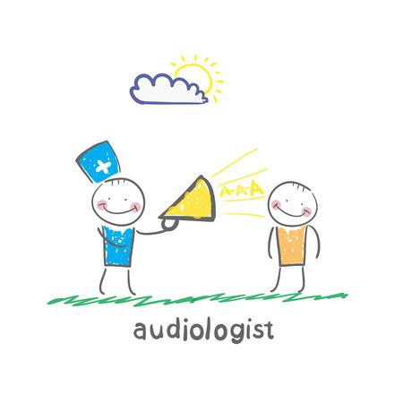 auditory: otolaryngologist yells into a megaphone on patient Illustration